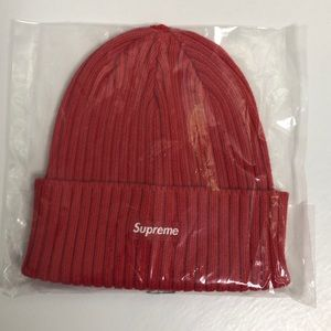 Supreme new red cable knit logo beanie